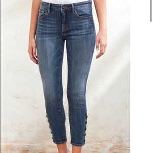 Driftwood Button Snap Jackie Ankle Mid Rise Jeans